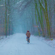 Cycling In The Snow Art Print
