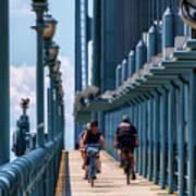 Cycling The Bridge Art Print