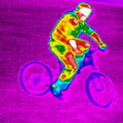 Cycling, Thermogram Art Print by Tony Mcconnell