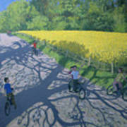 Cyclists And Yellow Field Art Print