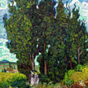 Cypresses With Two Figures, By Vincent Van Gogh, 1889-1890, Krol Art Print