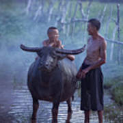 Dad And Child Happy To Live In The Countryside,thailand, Vietnam Art Print