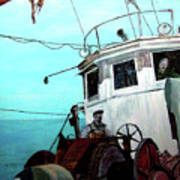 Dad In The Superior's Wheelhouse Art Print