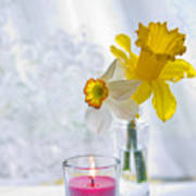 Daffodils And The Candle Art Print