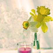 Daffodils And The Candle V3 Art Print