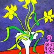 Daffodils With Abstract Sculpture Art Print