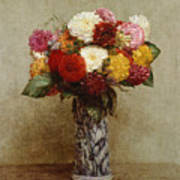 Dahlias In A Chinese Vase Art Print