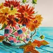 Dahlias In A Painted Cup Art Print