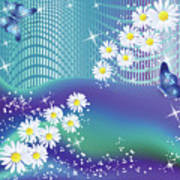Daisies And Butterflies On Blue Background Art Print