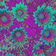 Pop Art Daisies Aqua Art Print