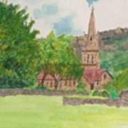 Edale Church And Beautiful Landscape Art Print