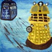 Dalek On Blue Art Print