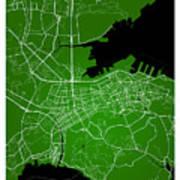 Dalian Street Map - Dalian China Road Map Art On Green Backgro Art Print