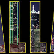 Dallas Letter Skyline 013018 Art Print