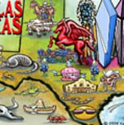 Dallas Texas Cartoon Map Art Print