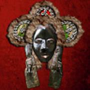Dan Dean-gle Mask Of The Ivory Coast And Liberia On Red Velvet Art Print by Serge Averbukh