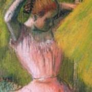 Dancer Arranging Her Hair Art Print by Edgar Degas