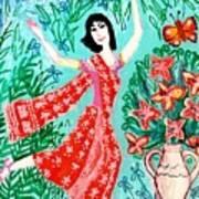 Dancer In Red Sari Art Print