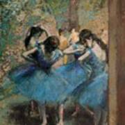 Dancers In Blue Art Print by Edgar Degas