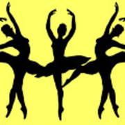 Dancing Ballerinas Silhouette Art Print