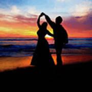 Dancing On The Beach - Painting Art Print