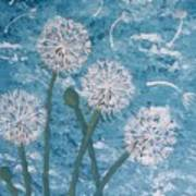 Dandelions Blowing In The Wind Art Print