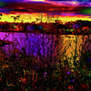 Dark Psychedelic Sunset Art Print