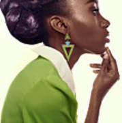 Dark Skinned Woman In Updo With Big Curls Art Print