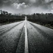 Dark Stormy Road To Cradle Mountain In Tasmania Art Print