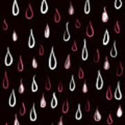Dark White And Red Raindrops Pattern Art Print