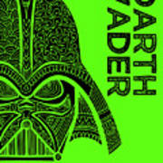 Darth Vader - Star Wars Art - Green Art Print