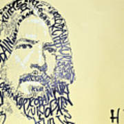 Dave Grohl Word Portrait With The Word Kurt Cobain Art Print
