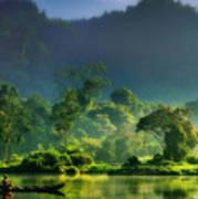Dave Ruberto - Wonderful Lake Green Nature Landscape  Art Print