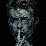 David Bowie Text Portrait - Typographic Poster With Album Titles And Background With Songs Names Art Print