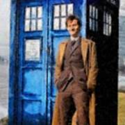 David Tennant As Doctor Who And Tardis Art Print by Elizabeth Coats