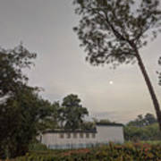 Dawn Moon Over Chinese Garden Singapore Art Print