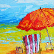 Day At The Beach - Modern Impressionist Knife Palette Oil Painting Art Print