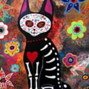 Day Of The Dead Cat El Gato Art Print