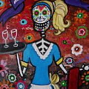 Day Of The Dead Waitress Art Print