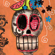 Day Of The Dead Watermelon Art Print by  Abril Andrade Griffith