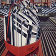 Dazzle Ships In Drydock At Liverpool Art Print