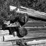 Ddp Djd B And W 1880s Log Cabin Ruins Montana 2 Art Print