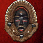 Dean Gle Mask By Dan People Of The Ivory Coast And Liberia On Red Velvet Print by Serge Averbukh