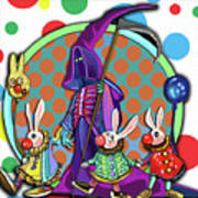 Death Takes His Bunny Friends To The Circus Art Print
