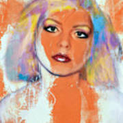 Debbie Harry - Orange Funky Grunge Art Print