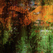 Decadent Urban Brick Green Orange Grunge Abstract Art Print