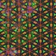 Decadent Urban Orange Green Patterned Abstract Design Art Print
