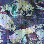 Decadent Urban White Splashed Bricks Grunge Abstract Art Print