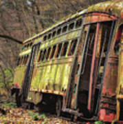 Decaying Trolley Cars Art Print