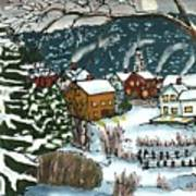 December Village Silk Painting Art Print